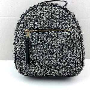 Small black and white tweed backpack